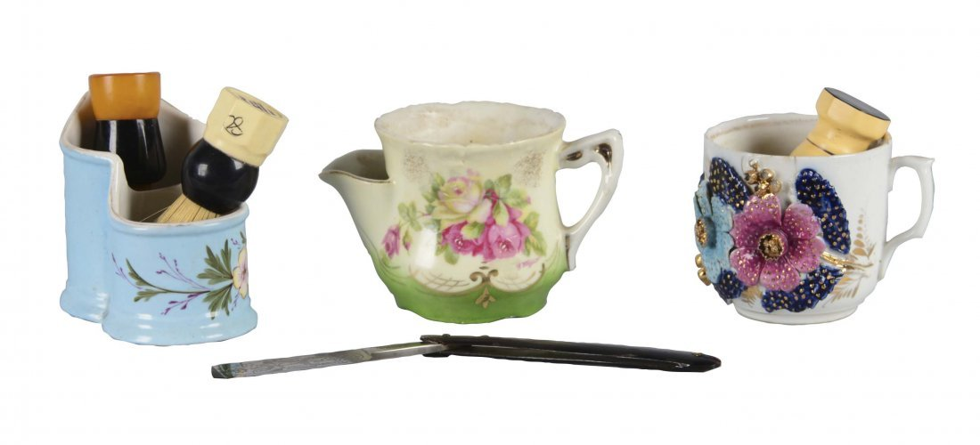 Lot Of 3: Teacup and Shaving Bowl With Accessories