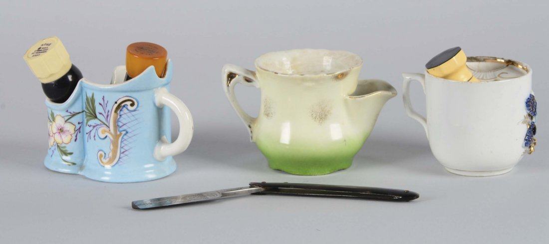 Lot Of 3: Teacup and Shaving Bowl With Accessories - 2