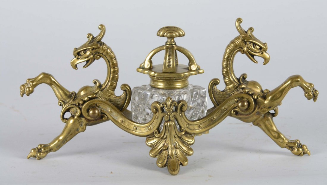 Victorian Brass and Crystal Inkwell - 2