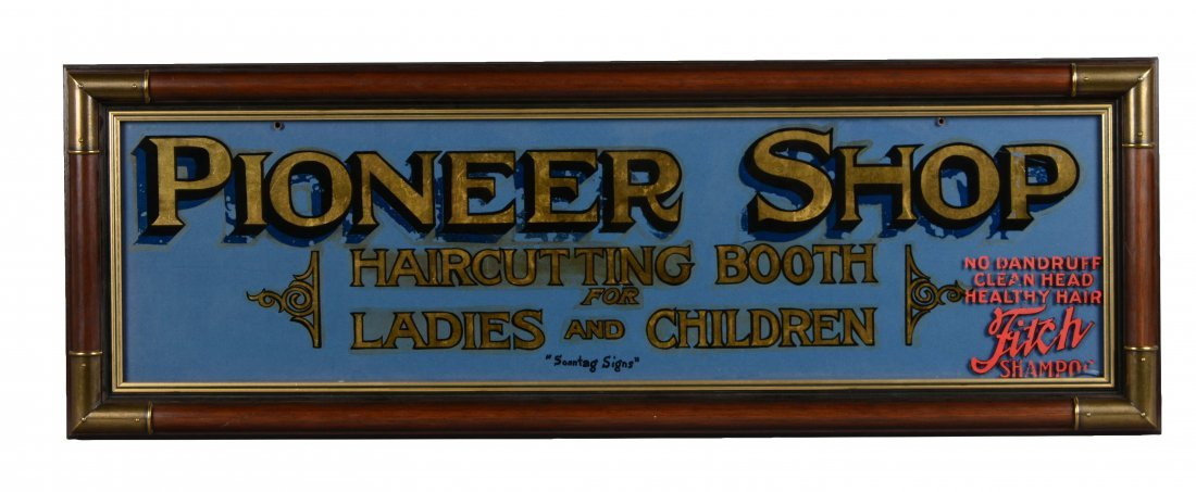 Pioneer Shop Reverse on Glass Advertisement Sign