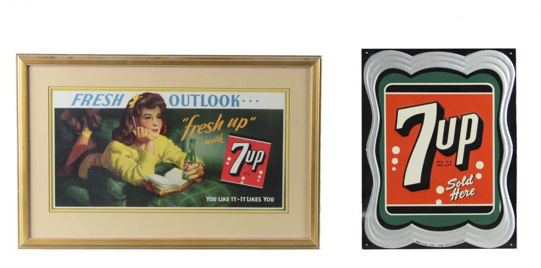 Lot Of 2: 7Up Advertisement Signs