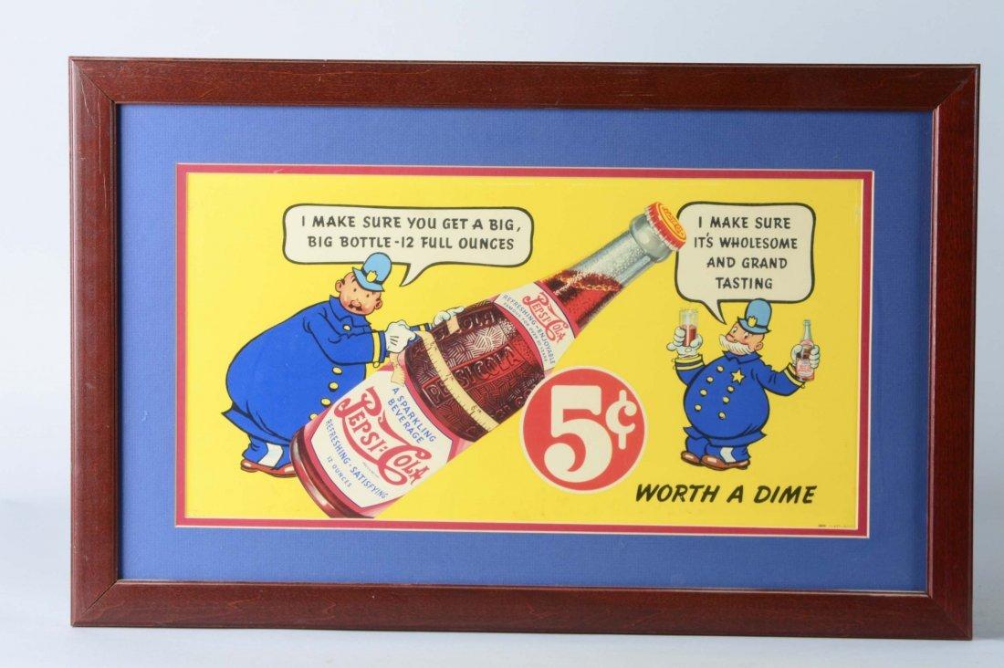Lot Of 2: Pepsi-Cola Cardboard Advertisements - 2