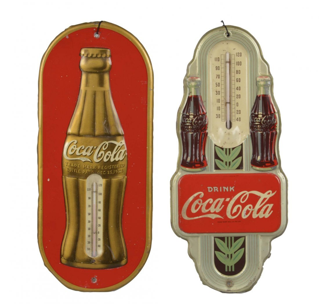 Lot Of 2: Coca-Cola Thermometer Signs