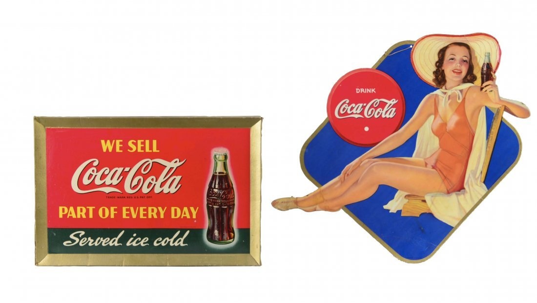 Lot Of 2: Cardboard Coca-Cola Advertisement Signs