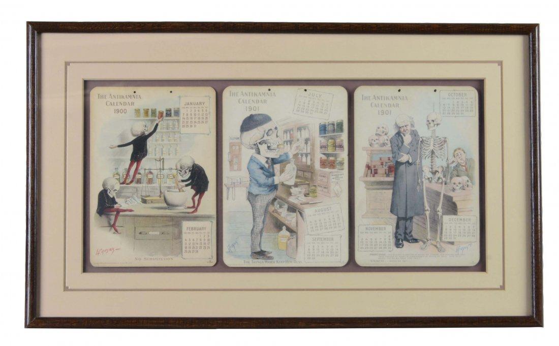 Framed Set Of 3 Antikamnia Chemical Co. Calendars