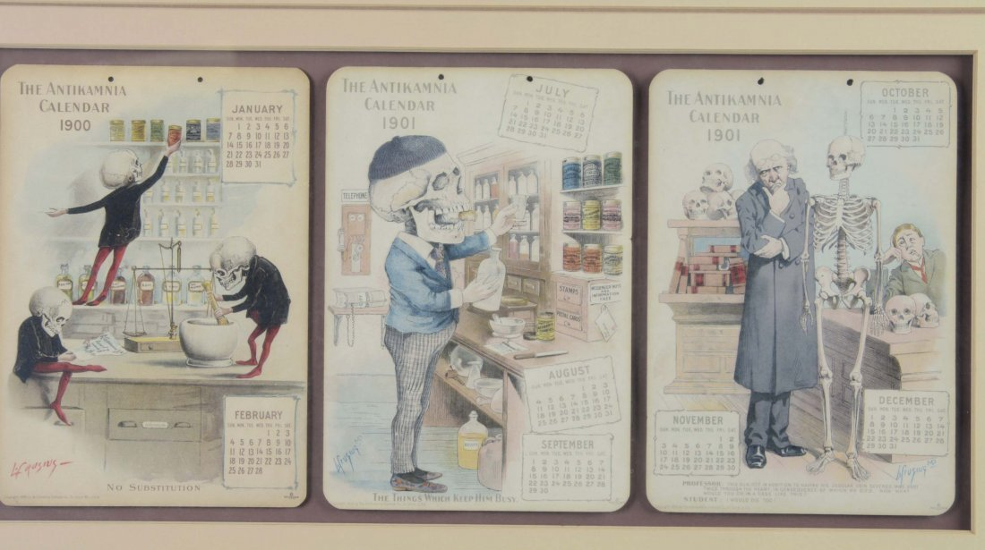 Framed Set Of 3 Antikamnia Chemical Co. Calendars - 2