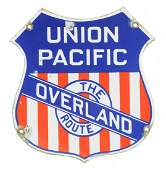 Union Pacific The Overland Route Porcelain Sign