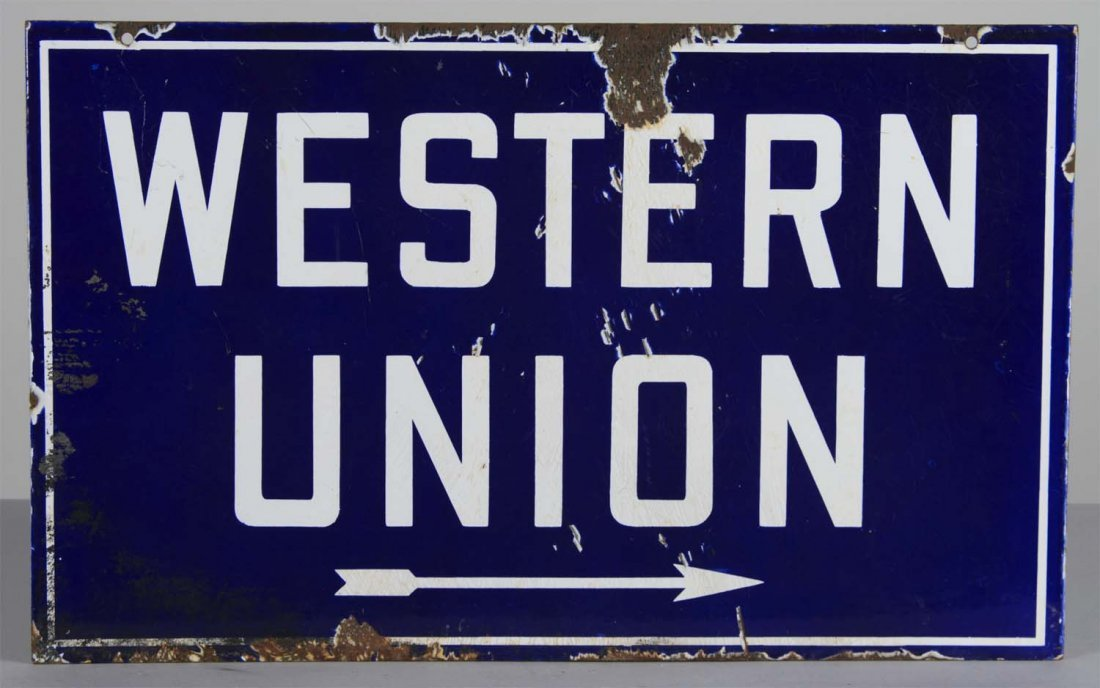Western Union Porcelain Directional Sign - 2