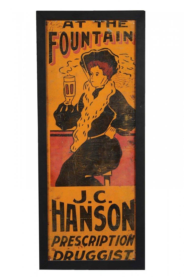 Ithaca Sign Works J.C. Hanson Prescription Druggist Tin