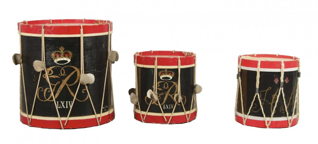 Lot Of 3: 18th Century Reproduction Drums