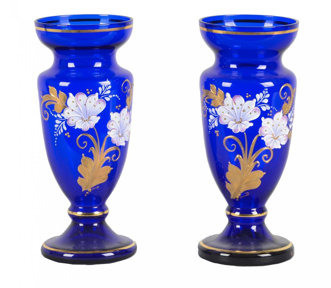 Lot Of 2: Blue Glass Vases