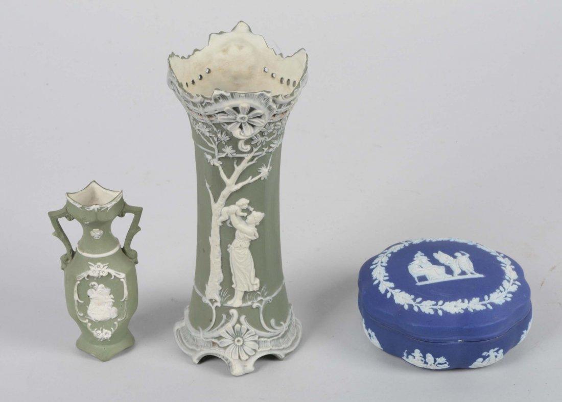 Lot Of 3: Porcelain Vases and Trinket Box