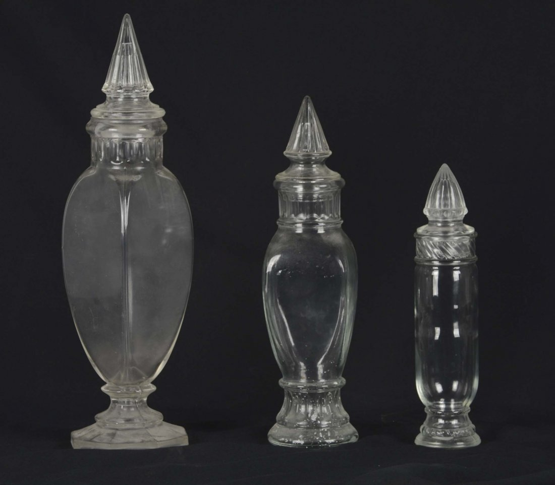Lot Of 3: Glass Apothecary Jars - 2