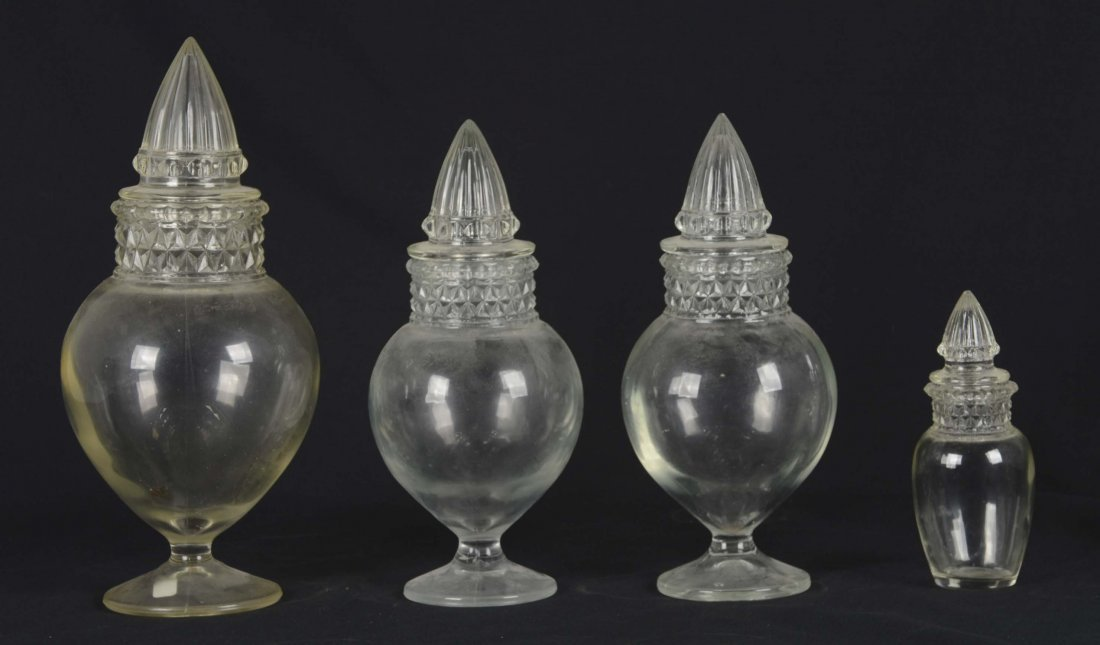 Lot Of 4: Glass Apothecary Jars
