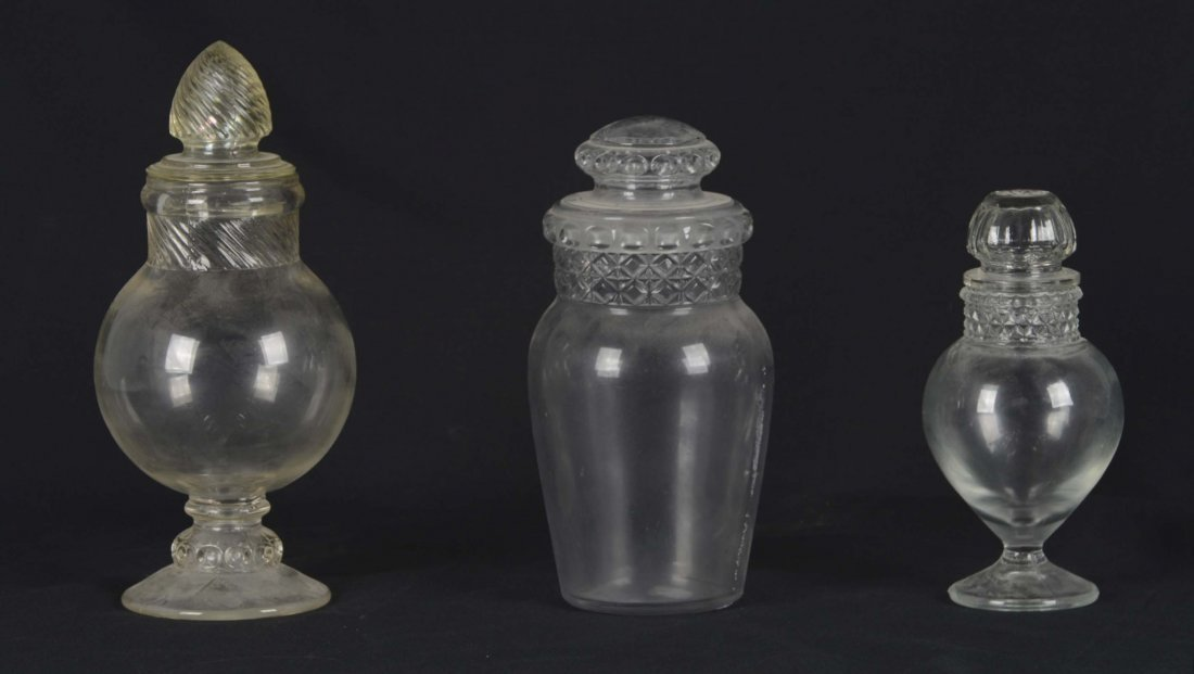 Lot Of 3: Glass Apothecary Jars