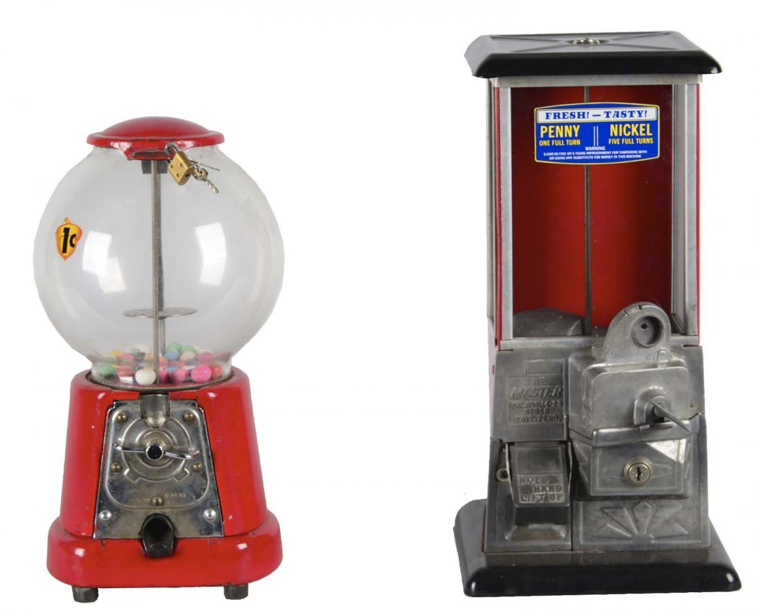 Lot Of 2: 1¢ and 5¢ Gumball Vending Machines