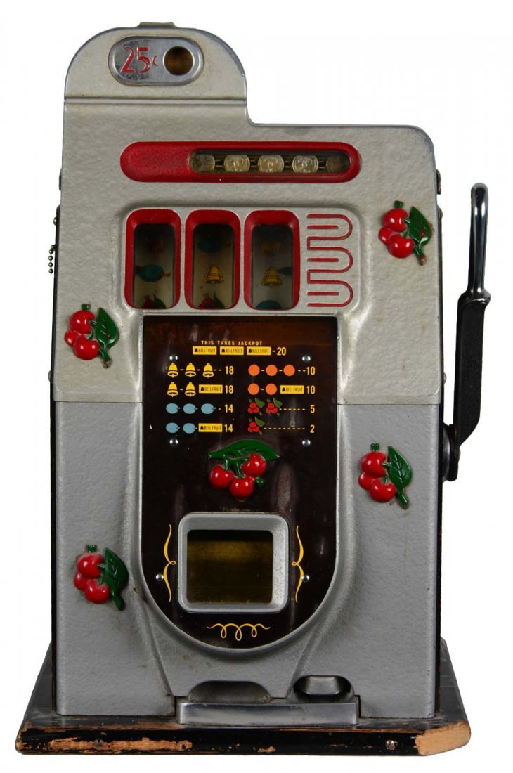 **25¢ Mills Black Cherry Half-Top Slot Machine