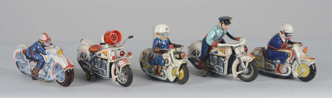 Lot Of 5: Japanese Tin Police Motorcycle Toys