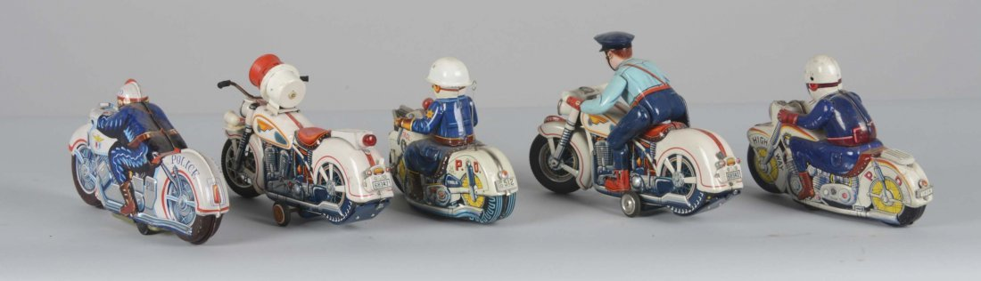 Lot Of 5: Japanese Tin Police Motorcycle Toys - 2