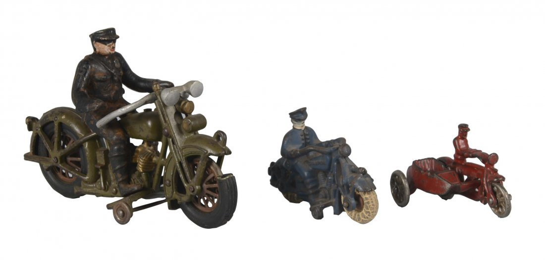 Lot Of 3: Cast Iron Hubley Motorcycles