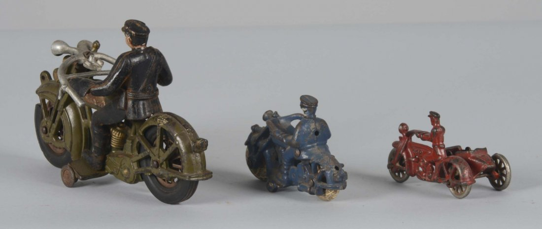 Lot Of 3: Cast Iron Hubley Motorcycles - 2