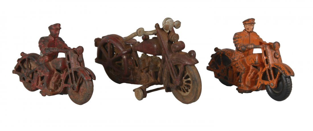Lot Of 3: Cast Iron Motorcycle Toys