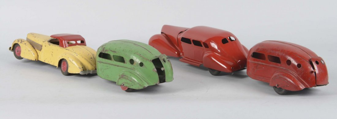 Lot Of 4: Wyandotte Cars With Trailers - 2