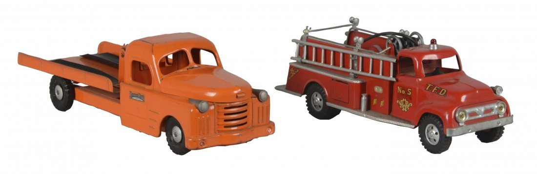 Lot Of 2: Tonka Fire Truck and Structo Auto Transporter