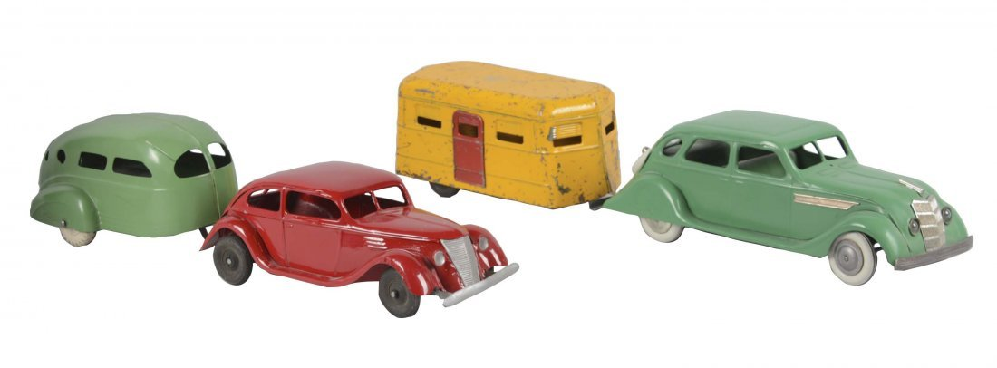 Lot Of 4: Pressed Steel Cars And Trailers