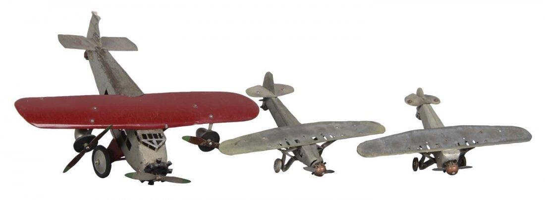 Lot Of 3: Pressed Steel Airplanes