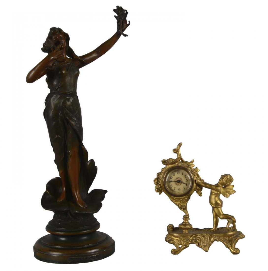 Lot Of 2: Bronze Sculpture And Gold Clock