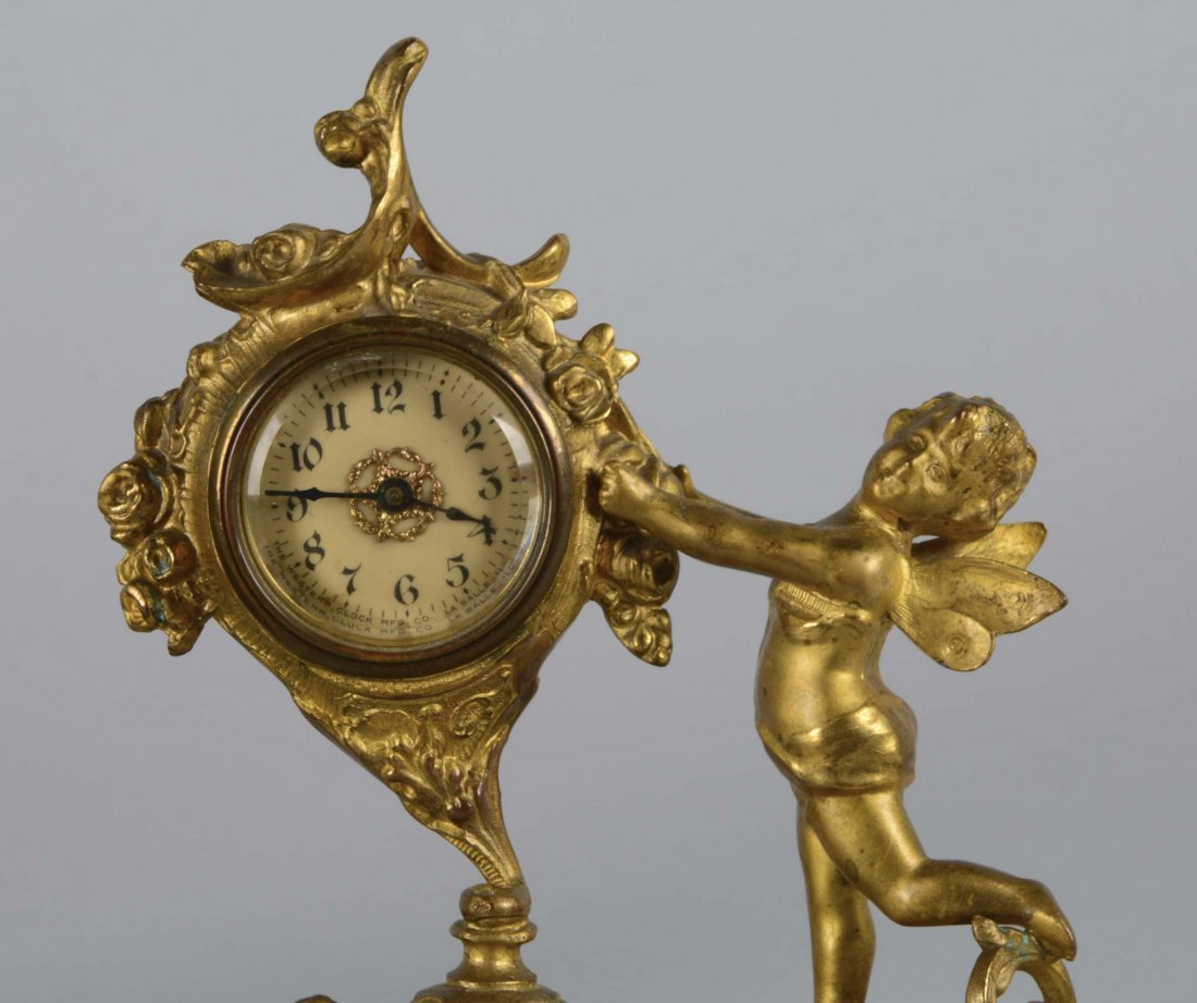 Lot Of 2: Bronze Sculpture And Gold Clock - 2