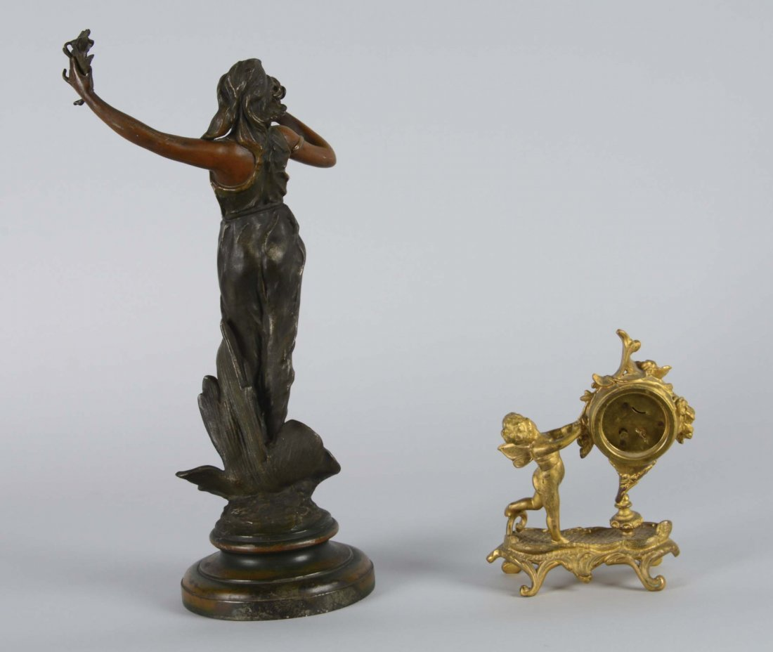 Lot Of 2: Bronze Sculpture And Gold Clock - 4