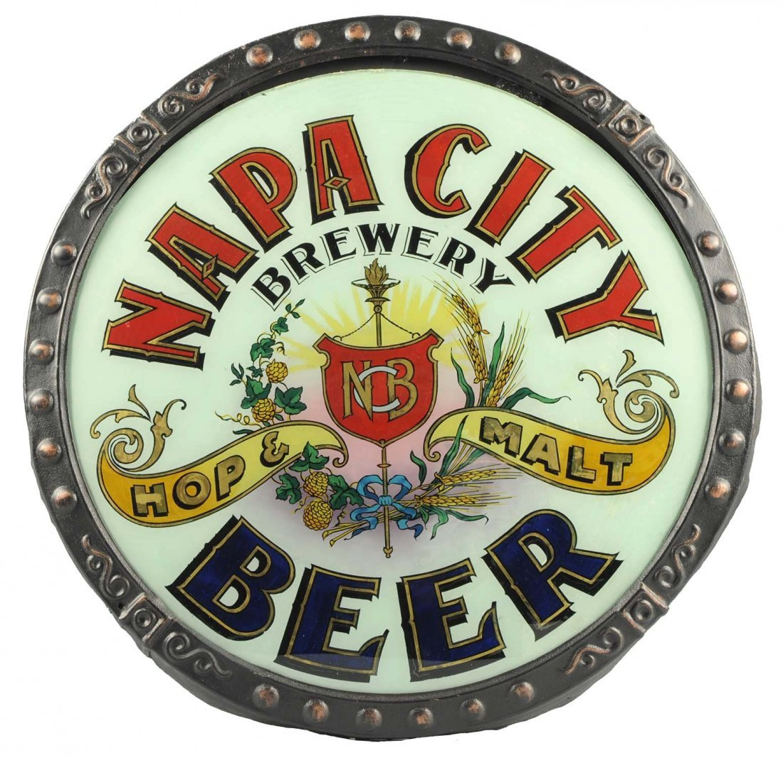 Napa City Beer Convex Reverse Glass Sign.