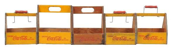 Lot of 5: Six Pack Coca-Cola Wooden Carriers.