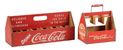 Lot of 2: Early Coca-Cola Wooden Carriers.