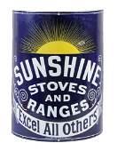 Sunshine Stoves and Ranges Curved Porcelain Sign.