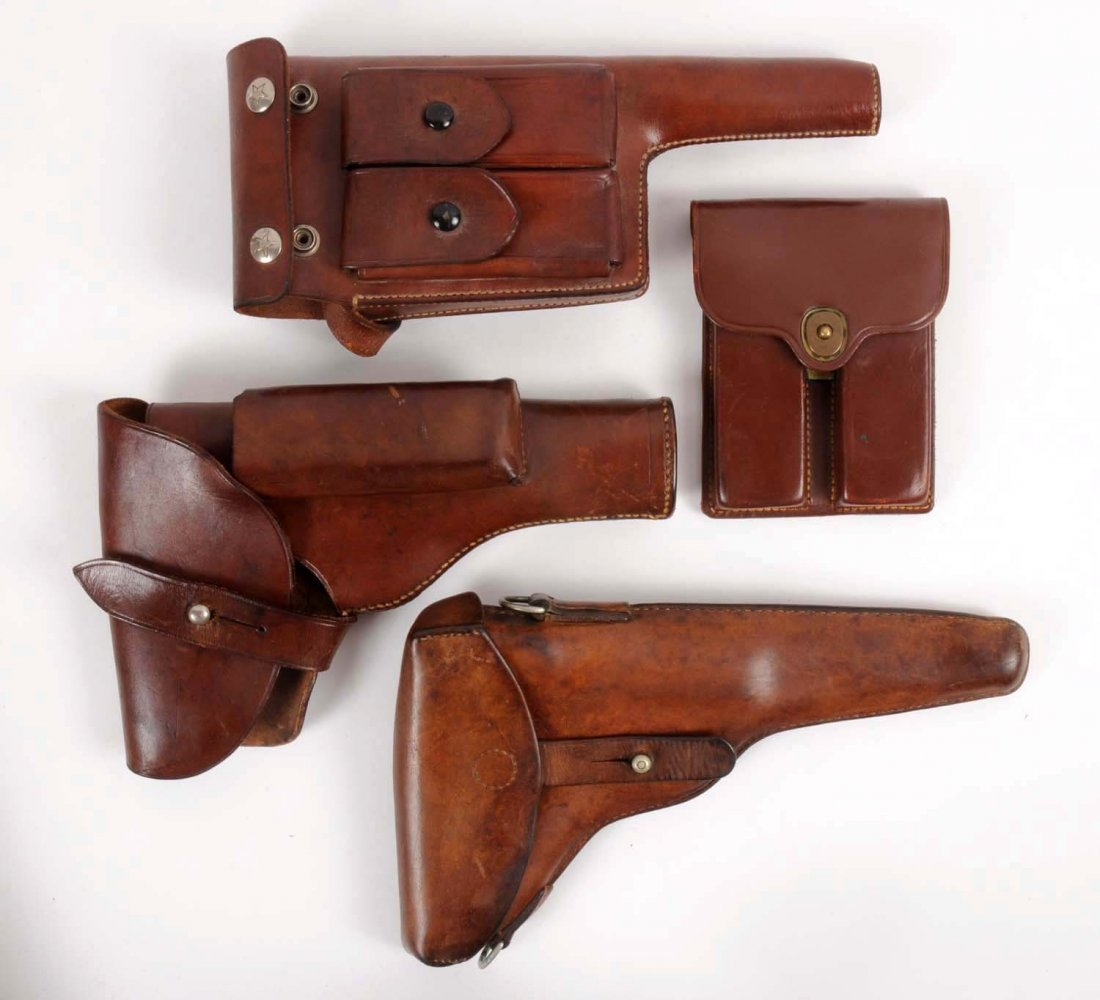 Lot of 4: Vintage Military Holsters & Ammo Pouch.