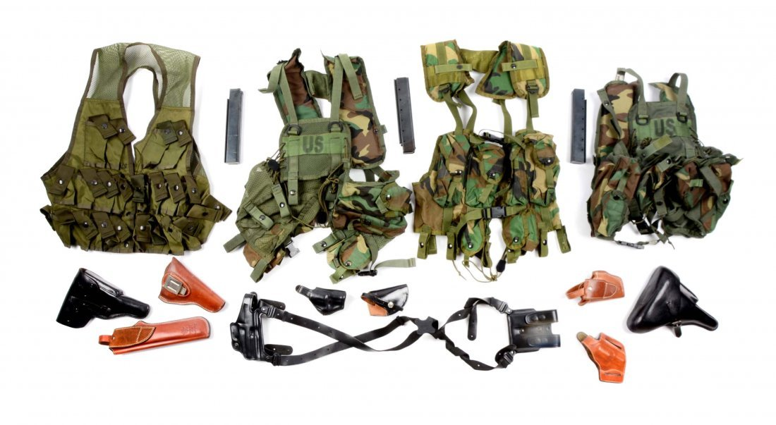 Large Lot of Holsters, Magazines & Military Belts.