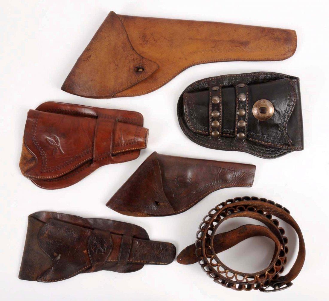 Lot of 6: Vintage Western Holsters & Ammo Belt.