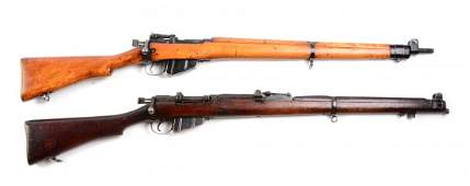 (C) Lot of 2: Enfield Bolt Action Military Rifles.