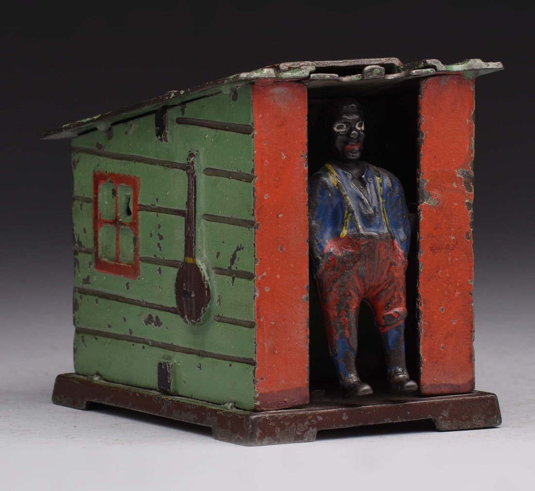 J.&E. Stevens Cabin Cast Iron Mechanical Bank.
