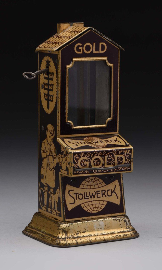 "Tin Stollwerck ""Gold"" Vending Bank."