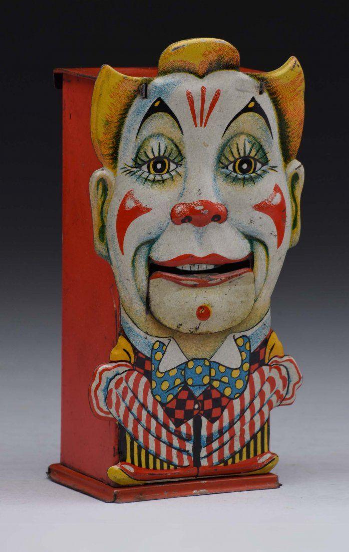 Standing Clown Tin Mechanical Bank.