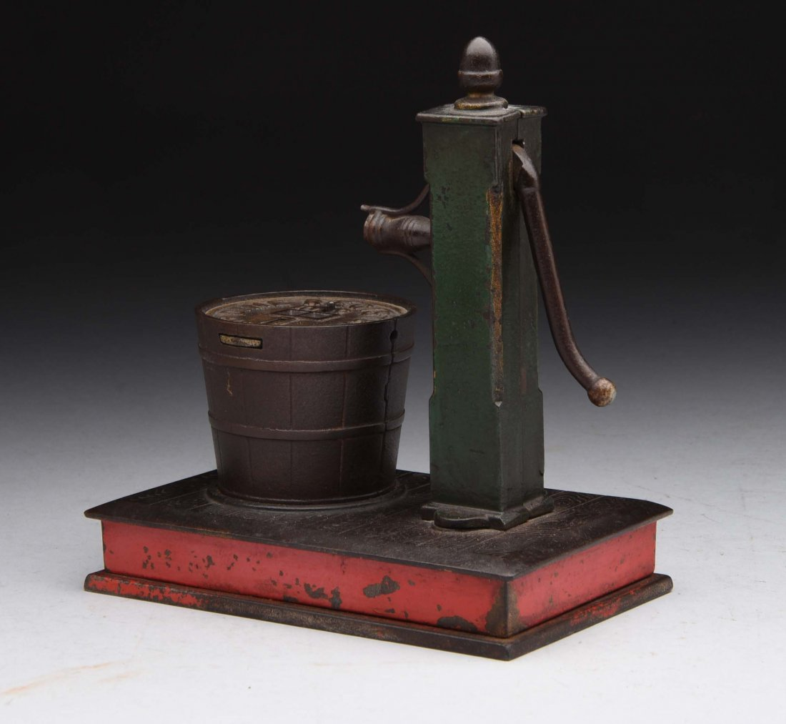 Cast Iron Pump & Bucket Mechanical Bank. - 2