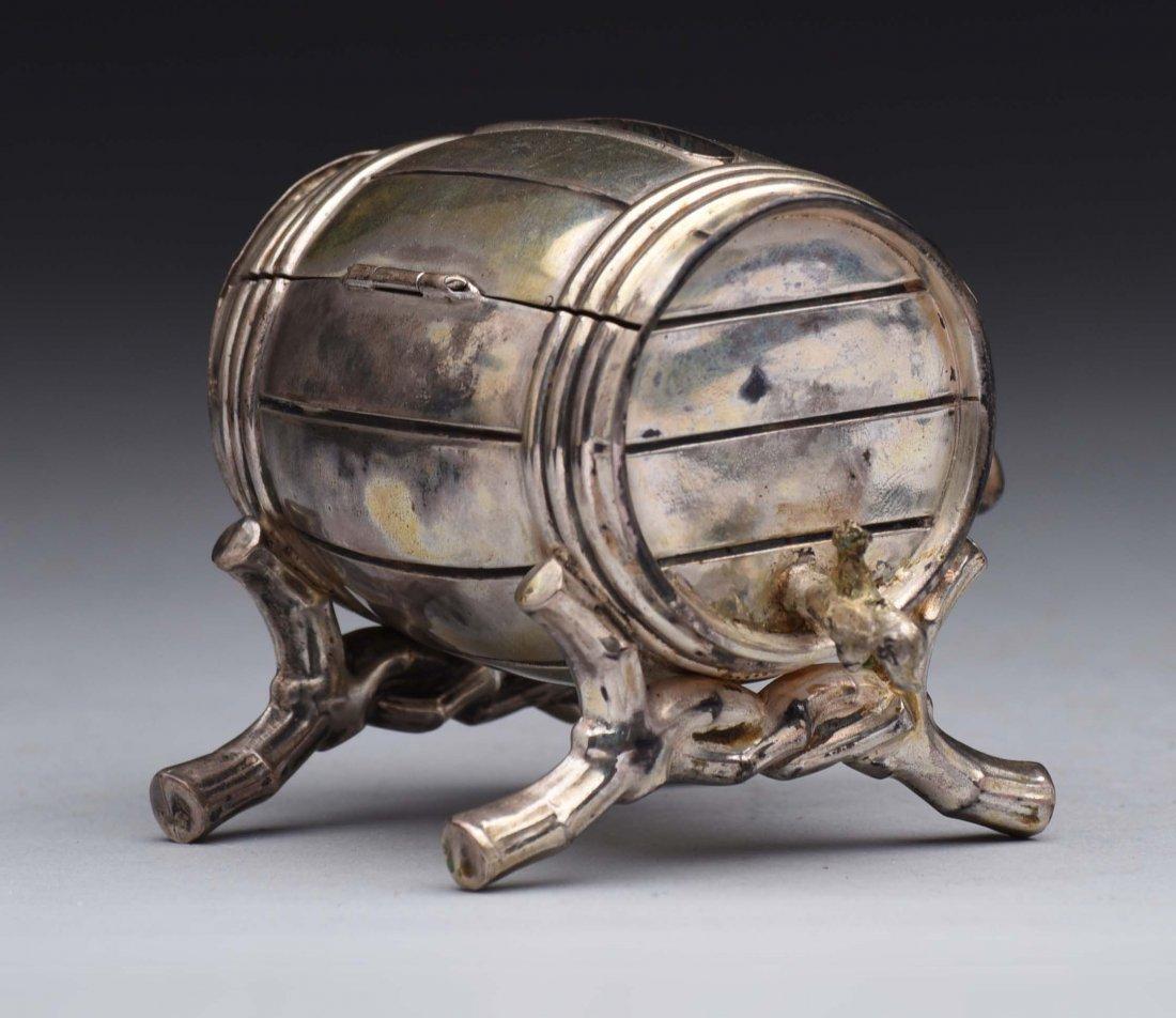 Silvered Barrel Keg Still Bank.