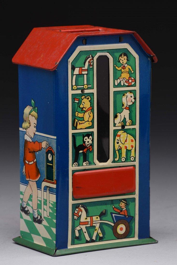 Tin Vending Bank With Boy, Girl & Animal Motif. - 2