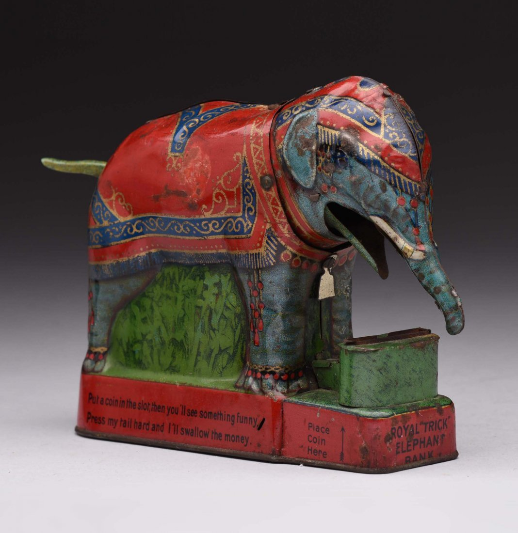 Tin Royal Trick Elephant Mechanical Bank.