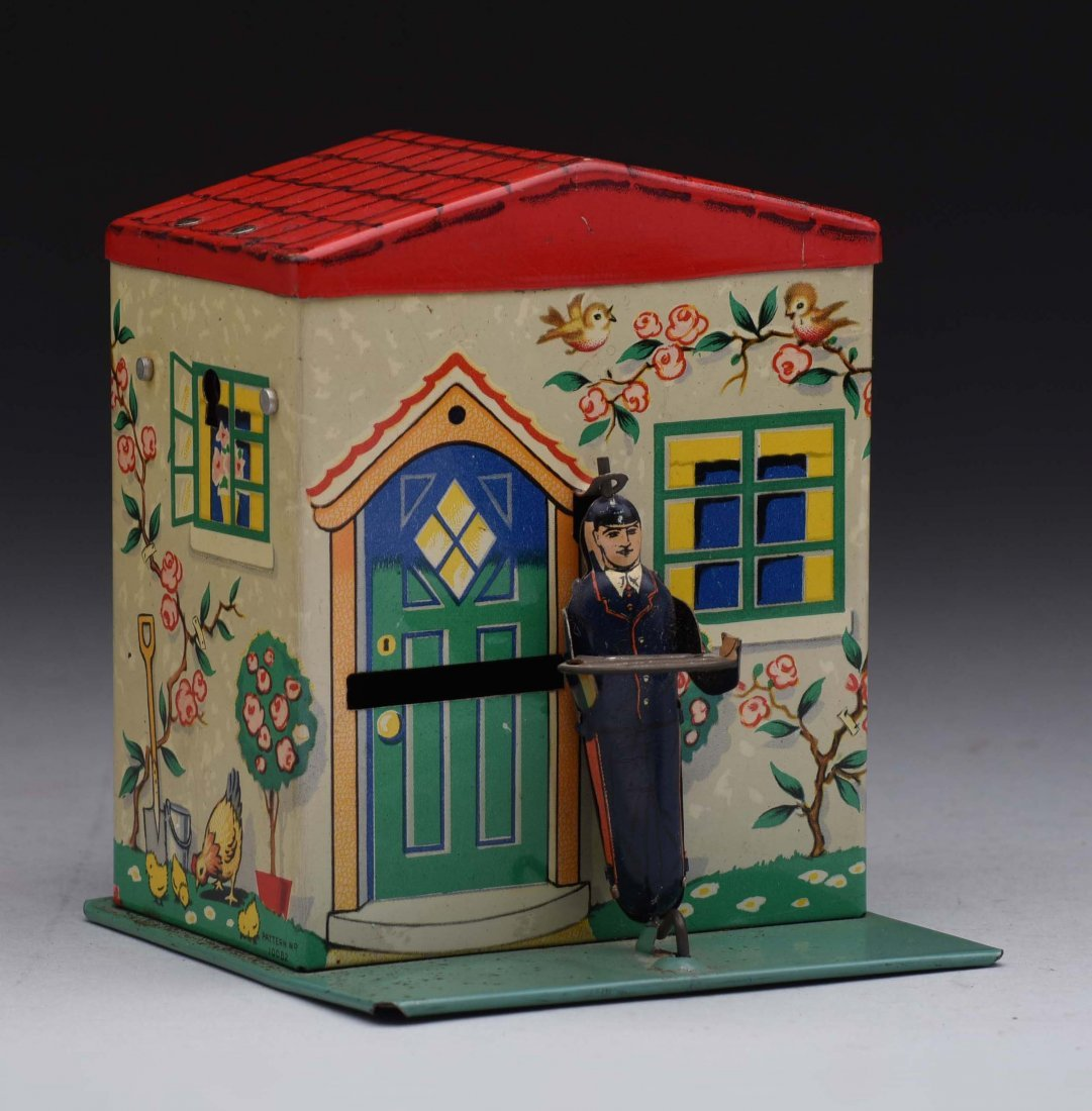 Tin Chad Valley Burnett Postman Mechanical Bank.