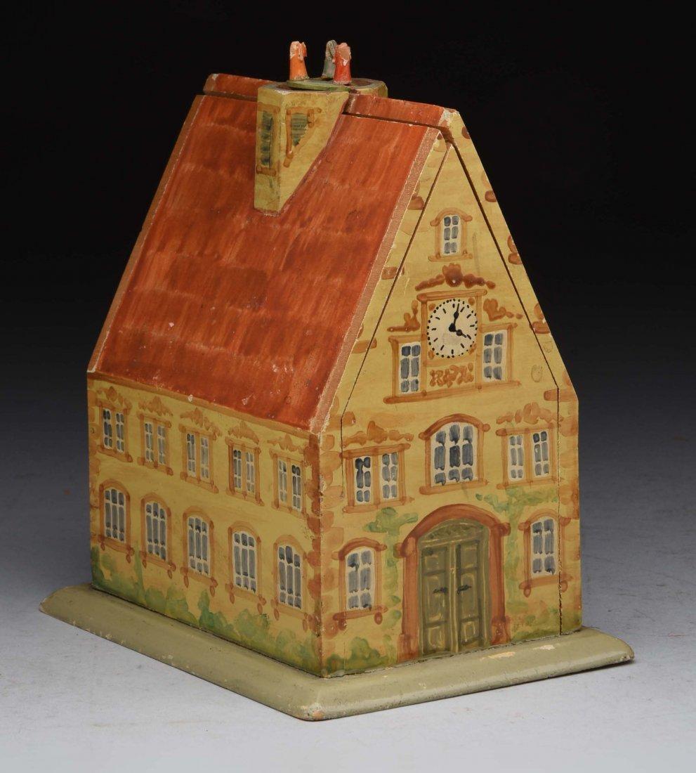 Wooden Musical House Mechanial Bank.